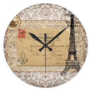 Paris Vintage Shabby Chic Eiffel Tower Large Clock