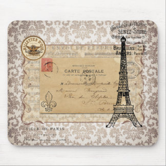 Paris Vintage Shabby Chic Eiffel Tower Mousepads