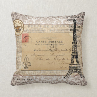 Paris Vintage Shabby Chic Eiffel Tower Pillow