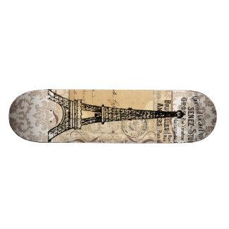 Paris Vintage Shabby Chic Eiffel Tower Skate Board Deck