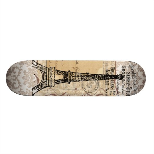 Paris Vintage Shabby Chic Eiffel Tower Skateboard