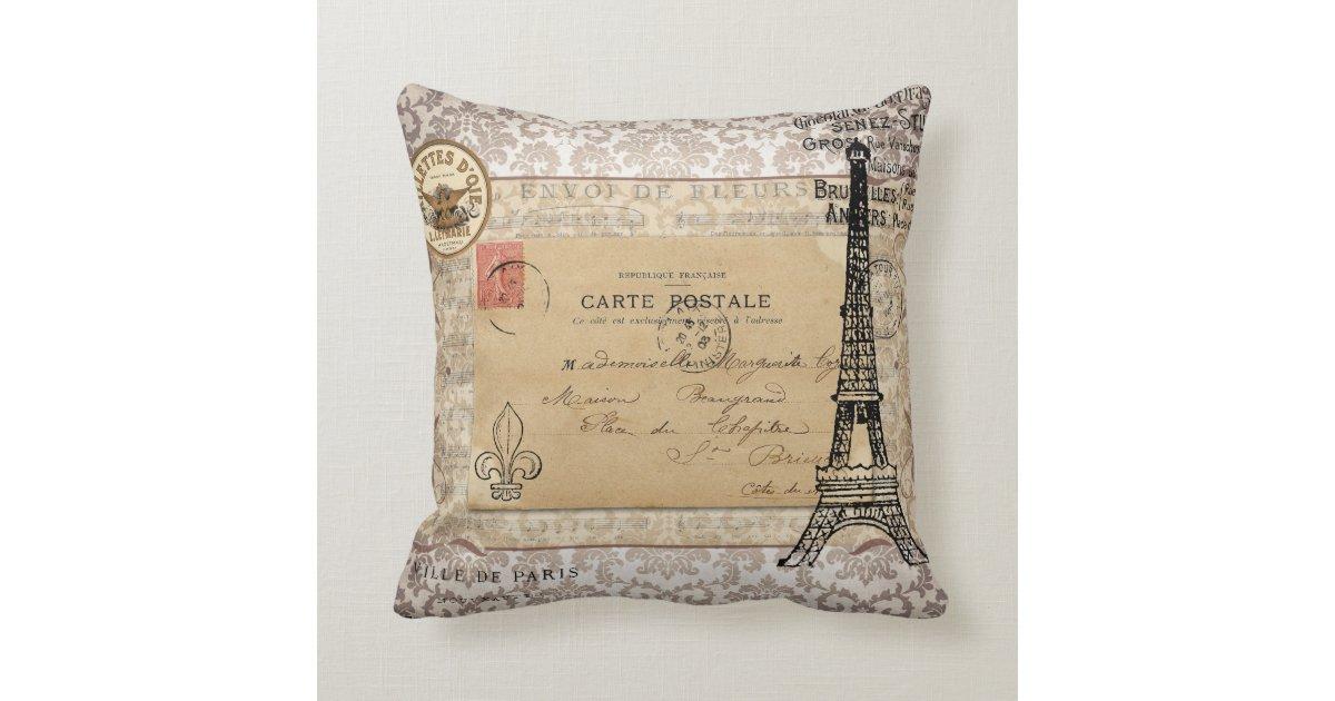 Paris Vintage Shabby Chic Eiffel Tower Throw Pillow Zazzle