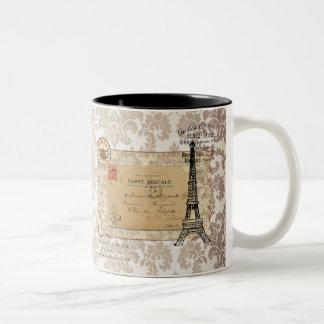 Paris Vintage Shabby Chic Eiffel Tower Two-Tone Coffee Mug