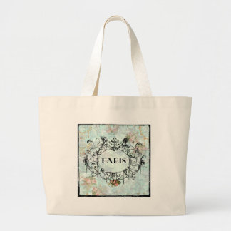Paris Vintage Style Cartouche Pink Roses Canvas Bag