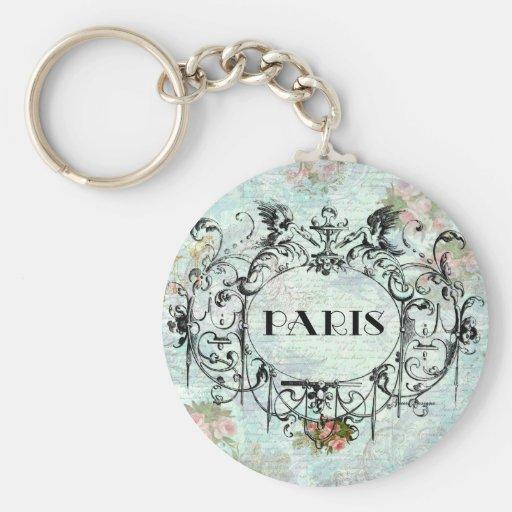 Paris Vintage Style Cartouche Pink Roses Basic Round Button Keychain