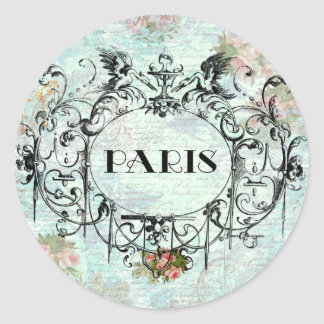 Paris Vintage Style Cartouche Pink Roses Classic Round Sticker