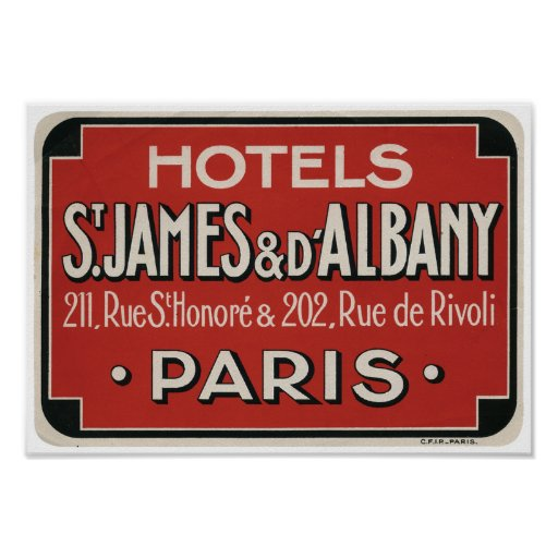 Paris Vintage Travel Label Poster