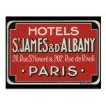 Paris Vintage Travel Luggage Label Post Card