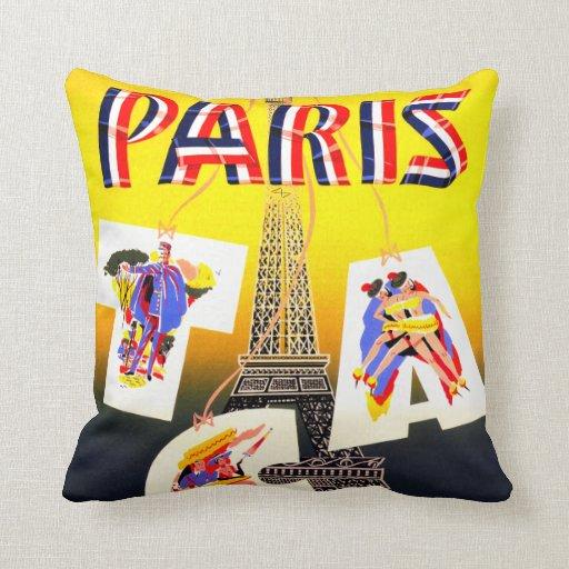 Paris vintage travel pillow