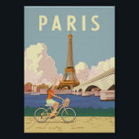 """Paris - Vintage Travel Poster<br><div class=""""desc"""">Summer in Paris is an unforgettable experience. Woman riding a vintage / retro bicycle with Eiffel Tower on the background.</div>"""
