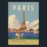 "Paris - Vintage Travel Poster<br><div class=""desc"">Summer in Paris is an unforgettable experience. Woman riding a vintage / retro bicycle with Eiffel Tower on the background.</div>"