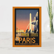 Paris Vintage Travel Poster Holiday Card