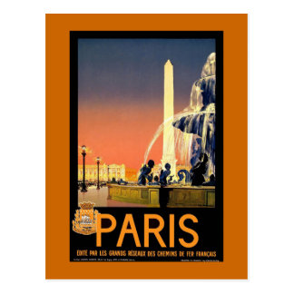 Paris Vintage Travel Poster Postcard