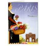 Paris Vintage Travel Poster Restored Card