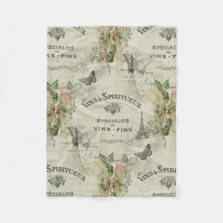 Paris Vintage Wine and Roses Fleece Blanket