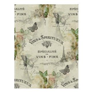 Paris Vintage Wine and Roses Postcard