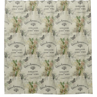 Paris Vintage Wine and Roses Shower Curtain