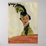 Paris Vogue Cover ~ Hats & Fabrics 1935 Poster