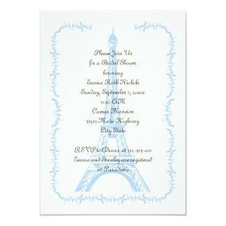 Paris wedding blue Eiffel Tower bridal shower Card