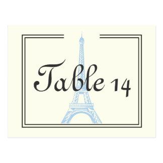 Paris wedding blue Eiffel Tower ivory table number Postcard