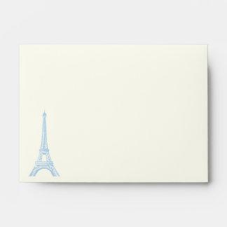 Paris wedding blue Eiffel Tower on ivory envelope