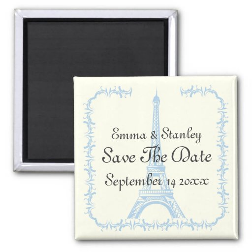 Paris wedding blue Eiffel Tower Save the Date 2 Inch Square Magnet