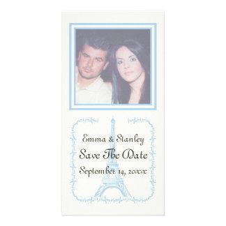 Paris wedding blue Eiffel Tower Save the Date Card