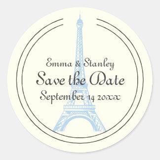 Paris wedding blue Eiffel Tower Save the Date Classic Round Sticker