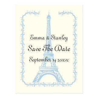 Paris wedding blue Eiffel Tower Save the Date Postcard