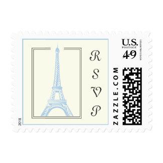 Paris wedding Eiffel Tower light blue RSVP stamp. Postage Stamp