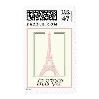 Paris wedding Eiffel Tower pink RSVP stamp