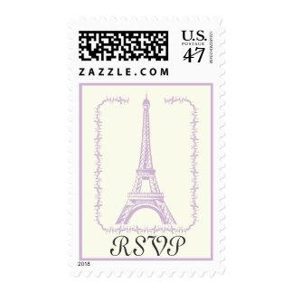 Paris wedding Eiffel Tower purple RSVP stamp