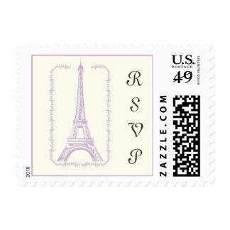 Paris wedding Eiffel Tower purple RSVP stamp. Postage