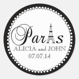 Paris Wedding Favour Cake Box Stickers Name Date