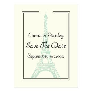 Paris wedding mint Eiffel Tower Save the Date Postcard