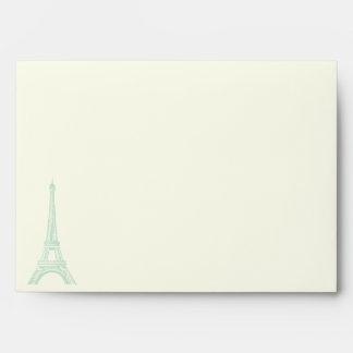 Paris wedding mint green Eiffel Tower on ivory Envelope