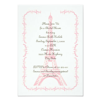 Paris wedding pink Eiffel Tower bridal shower Card