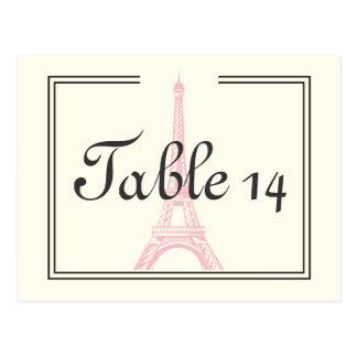 Paris wedding pink Eiffel Tower ivory table number Postcard
