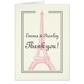 Paris wedding pink Eiffel Tower ivory Thank You Card