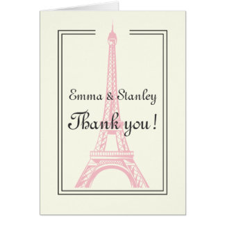 Paris wedding pink Eiffel Tower ivory Thank You Stationery Note Card