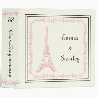 Paris wedding pink Eiffel Tower on ivory binder