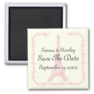 Paris wedding pink Eiffel Tower Save the Date 2 Inch Square Magnet