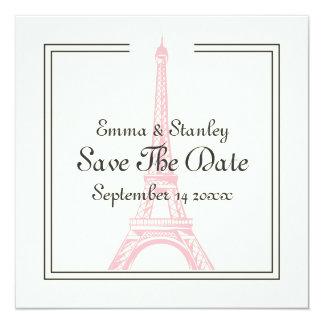 Paris wedding pink Eiffel Tower Save the Date card