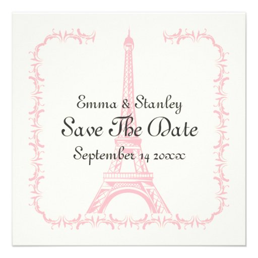Paris wedding pink Eiffel Tower Save the Date card Personalized Invitation
