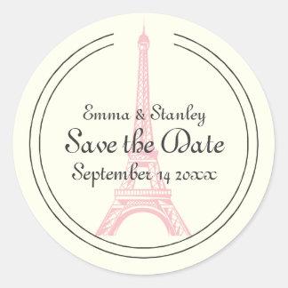 Paris wedding pink Eiffel Tower Save the Date Classic Round Sticker
