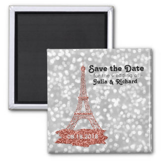 Paris Wedding Pink Eiffel Tower Save the Date Magnet