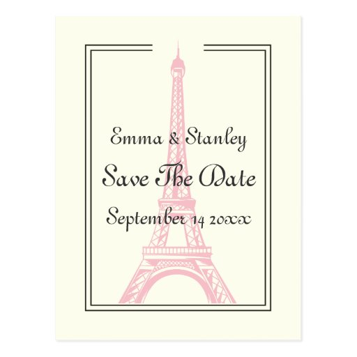 Paris wedding pink Eiffel Tower Save the Date Post Cards