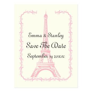 Paris wedding pink Eiffel Tower Save the Date Postcard