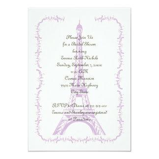 Paris wedding purple Eiffel Tower bridal shower Card