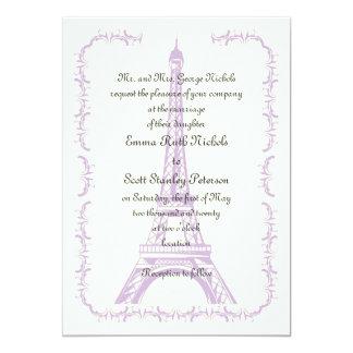 Paris wedding purple Eiffel Tower ivory invitation